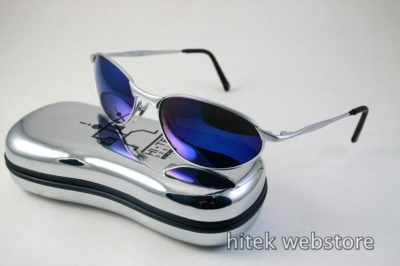 mens sunglasses shades silver metal frame blue mirror lens aviator Hi Tek model-2525