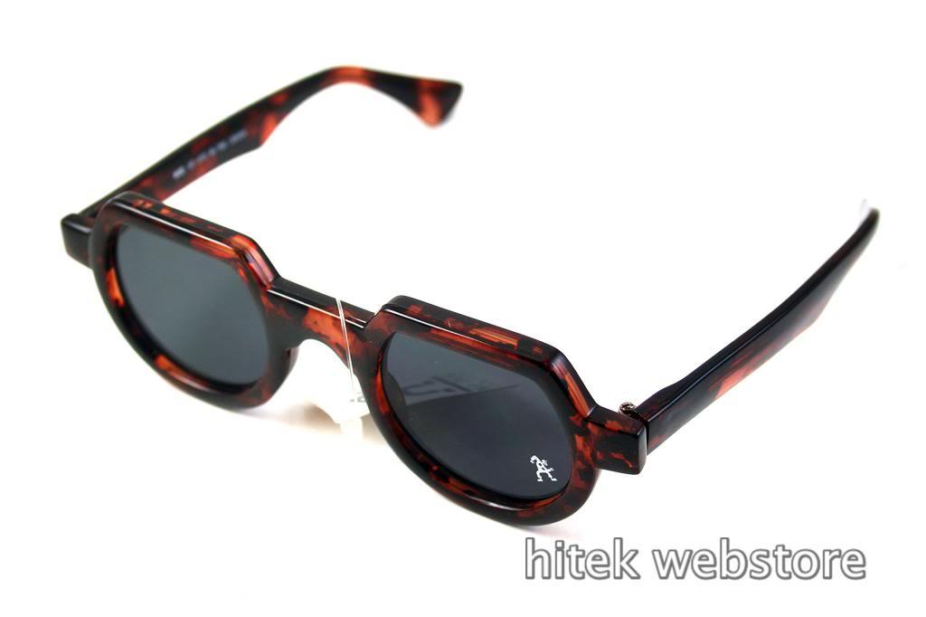 Hi Tek round sunglasses tortoiseshell brown HT-010 unusual