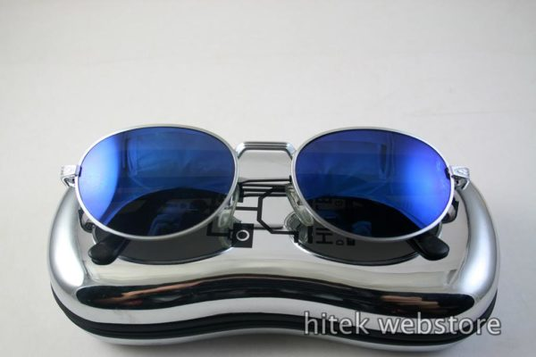 oval sunglasses mens shades silver metal frame blue mirror lens  Hi Tek model-SJ2220