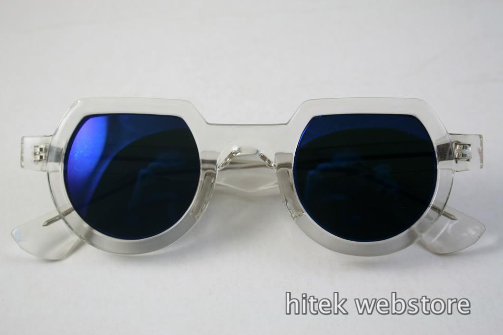 Clear Round Sunglasses  hi tek clear round sunglasses blue mirror lens ht 010 hi tek