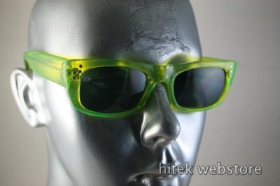 HI TEK oblong neon green sunglasses polarized lens
