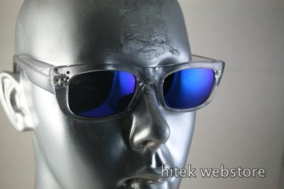 HI TEK oblong clear sunglasses blue mirror lens