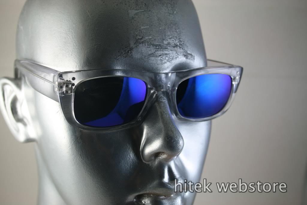 HI TEK oblong clear sunglasses blue mirror lens