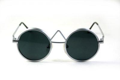 vintage round silver metal sunglasses flat lenses Hi Tek MOD-4009-1