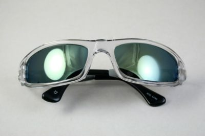 clear goggle sunglasses metal temples mirror lens Hi Tek