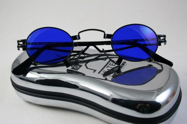 oval sunglasses black metal frame blue lens Hi Tek HT-164