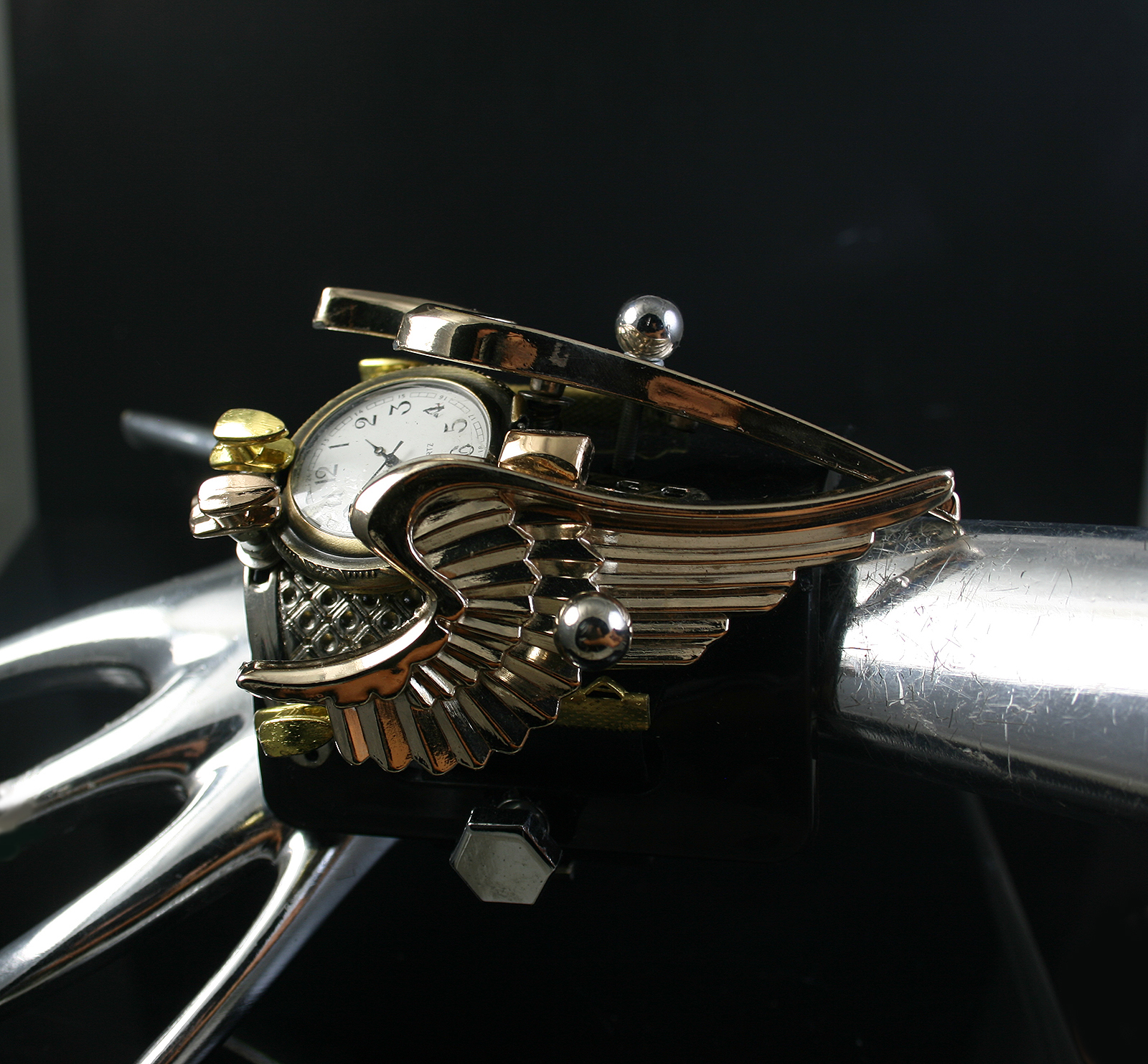 SteamPunk wrist Watch Cuff Bracelet  Hi Tek gold angel wings