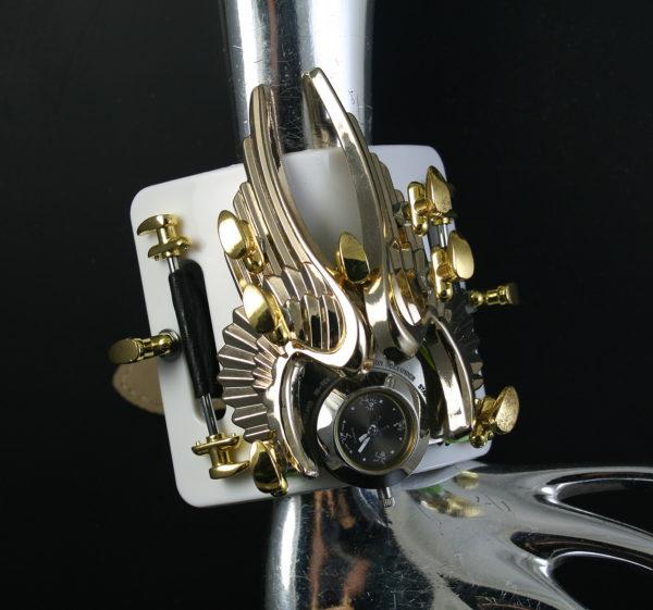 SteamPunk wrist Watch Cuff Bracelet  Hi Tek gold angel wings