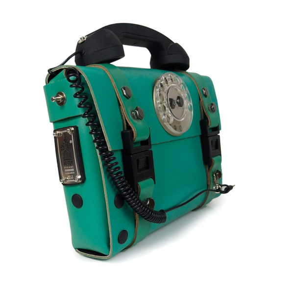 green leather shoulder bag, statement bag, unusual with retro telephone handle