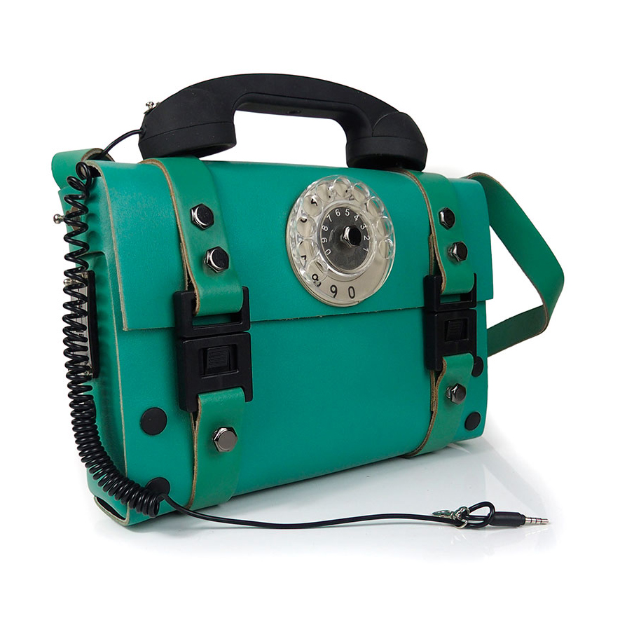 Green Leather Shoulder Bag Statement Unusual With Retro Telephone Handle