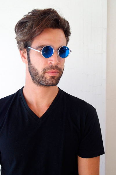 small round silver sunglasses