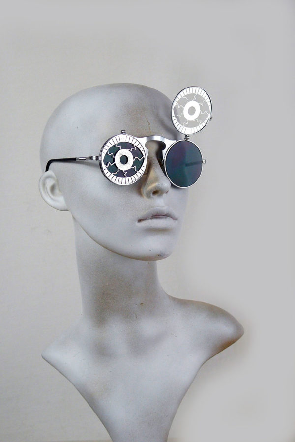 Round metal flip up sunglasses zombie Cosplay Psycho Eyes perforated stainless steel lens