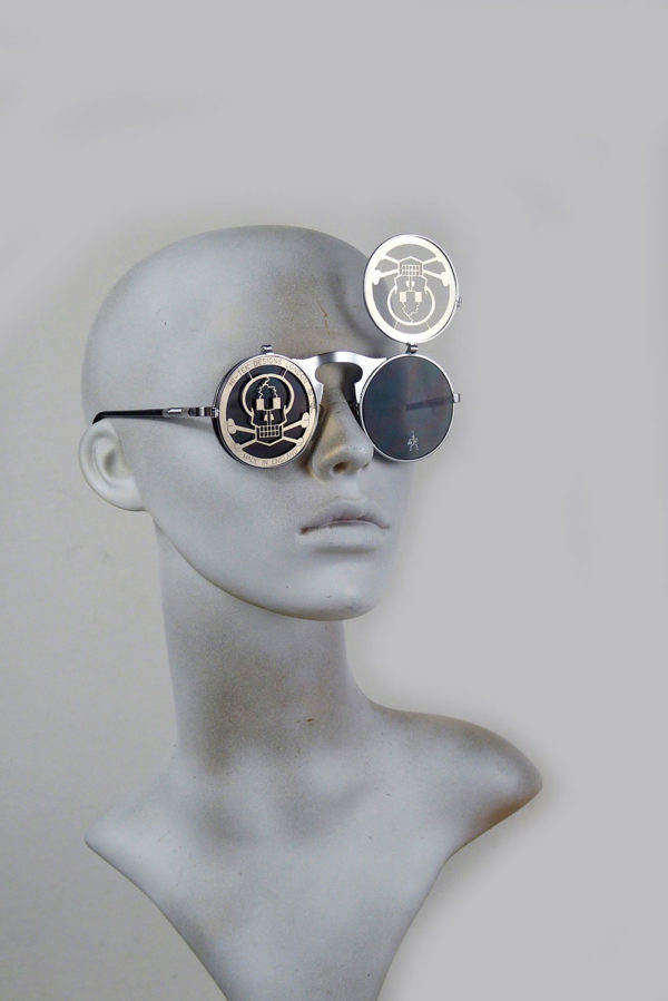 Round metal flip up sunglasses Skull pirate Cosplay perforated stainless steel lens