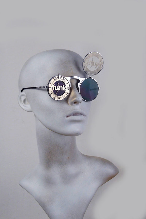 Round metal flip up sunglasses perforated stainless steel lens Time for Funk