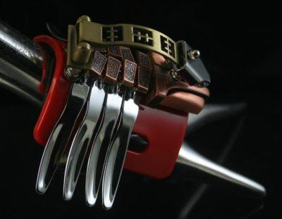 handmade Steampunk jewelry cuff bracelet  Hi Tek CATERPILLAR2