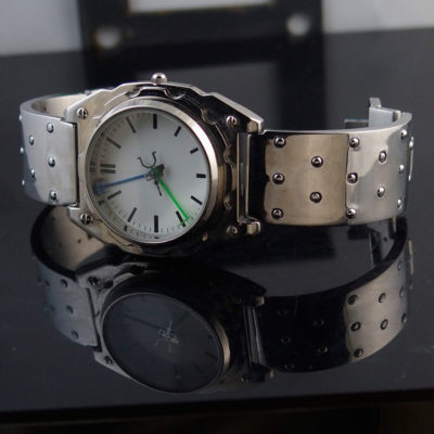 Mens wrist watch vintage, minimalistic design Goth Cyber punk Hi Tek Watch