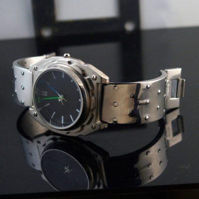 Mens wrist watch vintage, minimalistic design Goth Cyber punk Hi Tek Watch