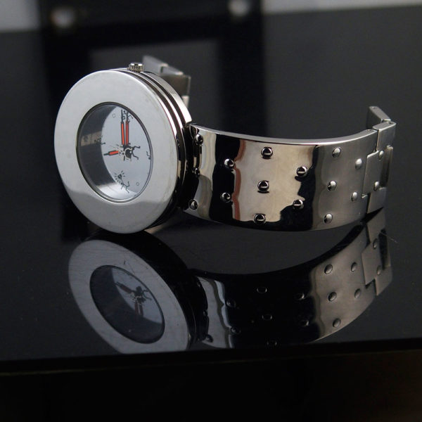Unisex wrist watch all silver minimal design cyberpunk cybergoth watch
