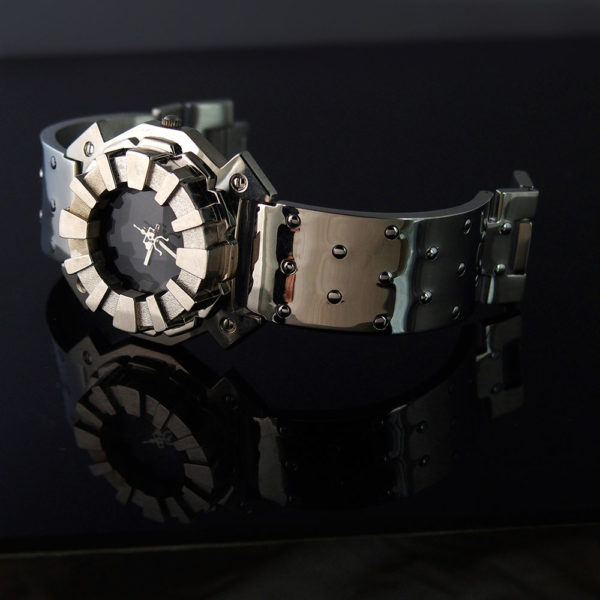 Mens watch silver case black face Hi Tek Alexander unusual unique