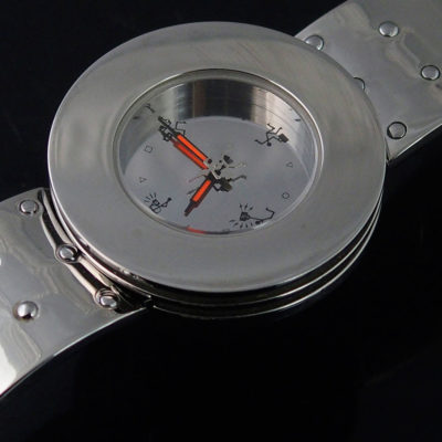 Unisex wrist watch all silver minimal design cyberpunk cybergoth watch