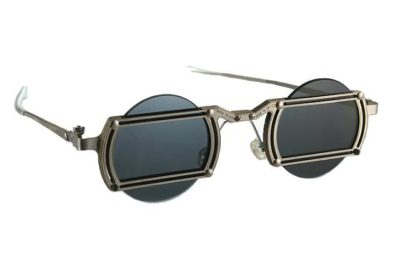 industrial design round silver metal stainless steel handmade sunglasses Goth Steampunk style