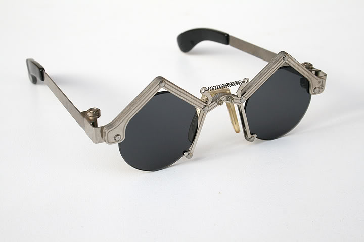 unisex round Goth Steampunk stainless steel sunglasses unusual unique Hi Tek