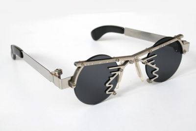 HI TEK unisex round silver metal sunglasses HT-CULT5 unusual