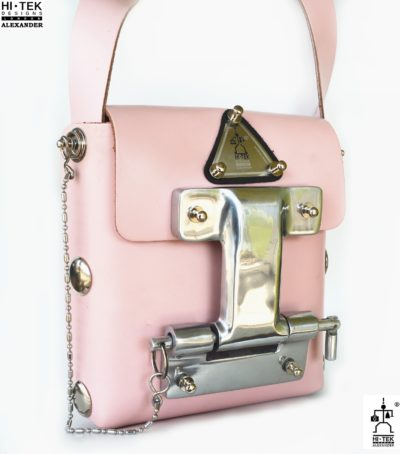 Pink leather cross body bag small unusual unique