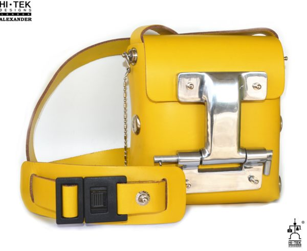 yellow leather cross body bag small unisex unusual unique