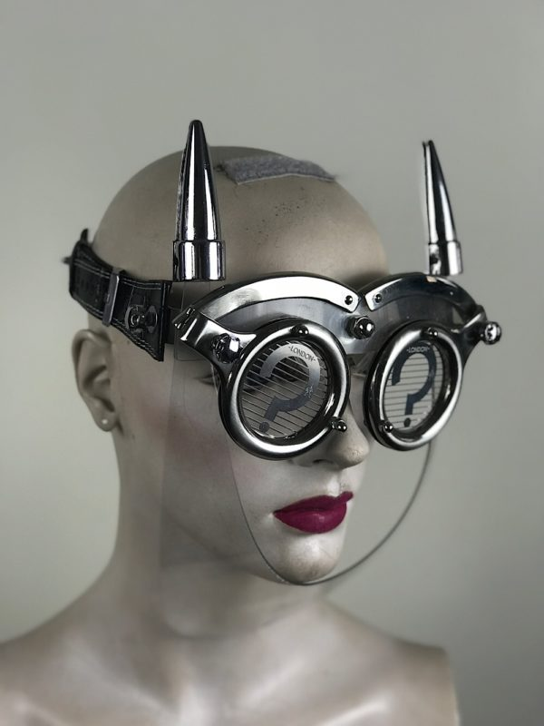 eye wear mask with metal horns perforated metal ocular lens Hi Tek