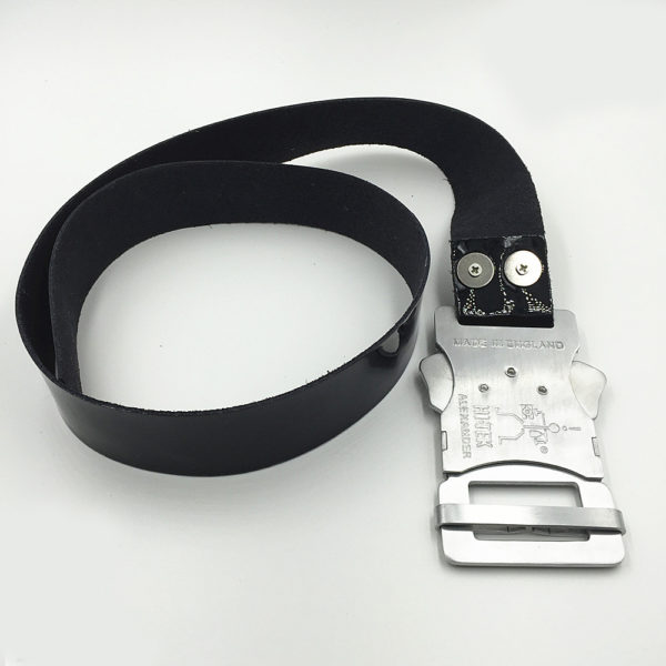 black leather Dr. Who belt with aluminium fastener buckle Hi Tek unusual unique