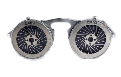 Hi Tek unisex round metal flip up sunglasses model HT-006-SPIKY
