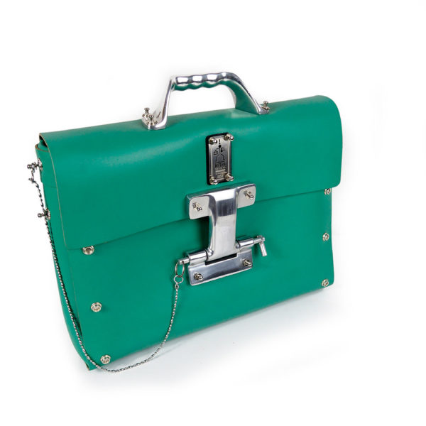 Green leather shoulder bag for men large briefcase size unusual handle