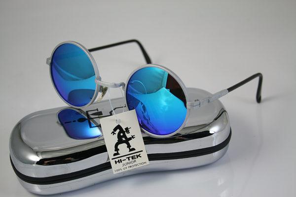 round sunglasses silver metal frame blue mirror lens Hi Tek HJL9-BLUMIRR