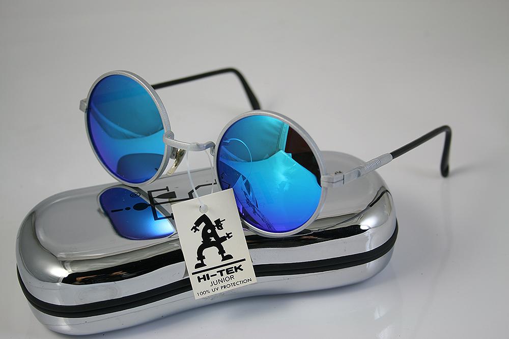 9186eee85 round sunglasses silver metal frame blue mirror lens Hi Tek HJL9-BLUMIRR