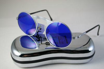 round sunglasses silver metal frame cobalt blue lens Hi Tek HT-006-BLU