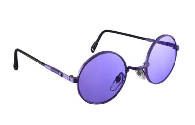 round purple metal sunglasses vintage 80's Hi Tek Junior