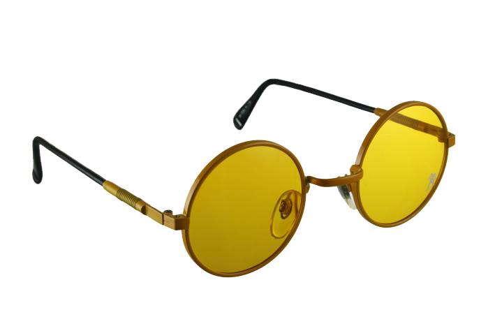 Vintage round metal sunglasses yellow HJL9 Hi Tek