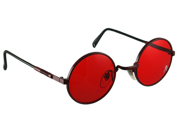 vintage sunglasses, dark red sunglasses with red lenses, unisex, unusual, Hi Tek HJL9