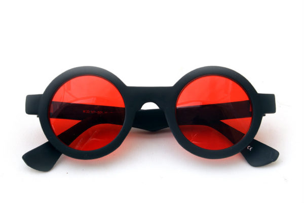 e7c2583bf758 round sunglasses black frame red lens Goth Steampunk style unususal HT-005