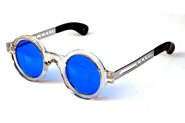 round sunglasses clear plastic frame blue lenses metal temples Tek HT-005