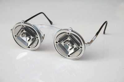 Hi Tek round metal lens flip up sunglasses steampunk blinders