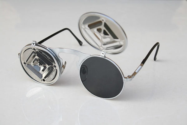 Hi Tek round metal lens flip up sunglasses steampunk blinders