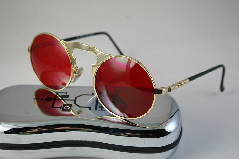 round sunglasses gold metal frame red lens Hi Tek HT-006