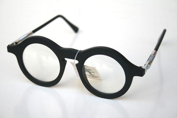 vintage unisex black round sunglasses with clear lenses Hi Tek HT-008B