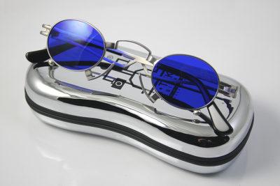 oval sunglasses silver metal frame blue lens Hi Tek HT-164