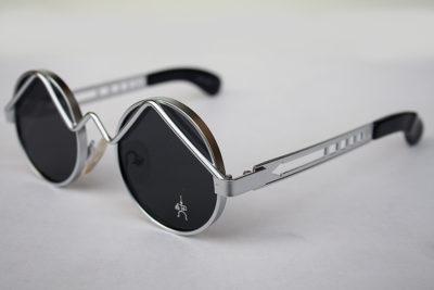 vintage round silver metal frame sunglasses Hi Tek HT-4007