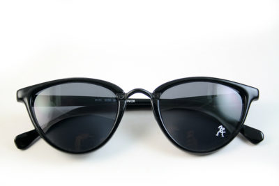 Retro cat eye sunglasses black frame black lens Hi Tek model HT-5556