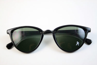 Retro cat eye sunglasses black frame green lens Hi Tek model HT-5556