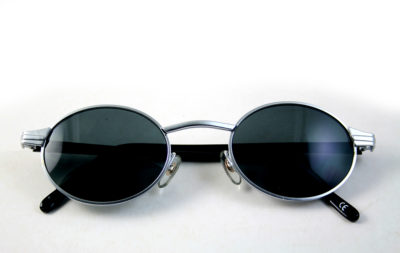 men's round oval silver metal sunglasses Hi Tek
